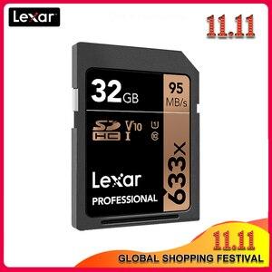 Image 1 - 100% Lexar SD Card 633x16 GB 32GB 64GB Classe 10 SD SDHC SDXC Scheda di Memoria 128GB 256GB 512GB 95 MB/s per REFLEX Digitale/macchina fotografica di HD