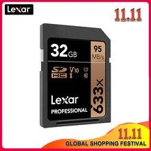 100% Lexar SD kartı 633x16 GB 32GB 64GB sınıf 10 SD SDHC SDXC hafıza kartı 128GB 256GB 512GB 95 MB/s dijital SLR/HD kamera