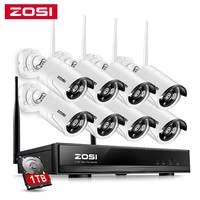ZOSI 8CH SISTEMA DE CCTV inalámbrico 1080P NVR 8x1,3 MP IR al aire libre/de interior P2P Wifi IP cámara de seguridad CCTV casa Kit de videovigilancia