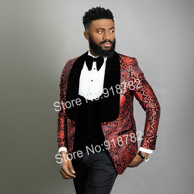 Men Suits For Wedding Floral Tuxedo 2020 Latest Coat Pant Designs 3 Pieces Slim Fit Groom Suit Groomsmen Party Wedding Suits