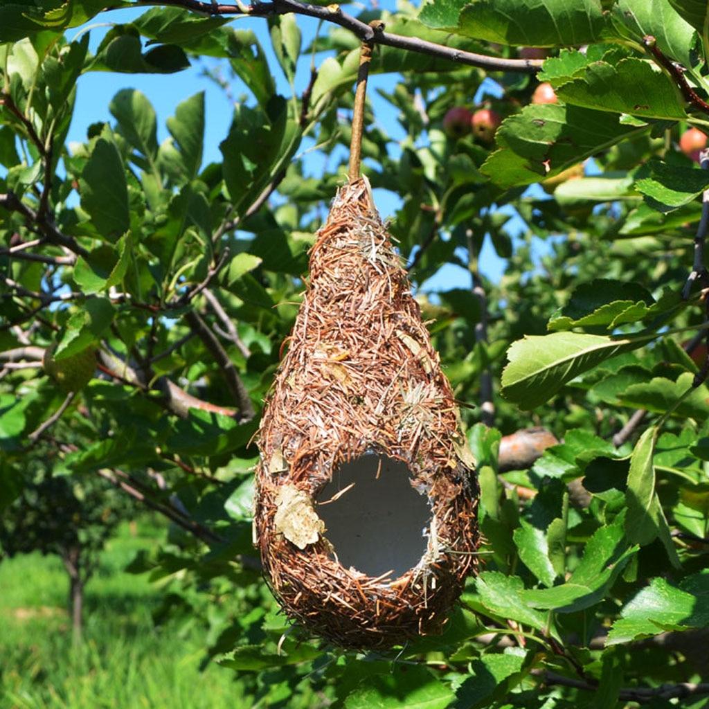 Natural Grass Bird Nest Hummingbird Birdhouse for Outside Hanging Grass Hand Woven Bird Nest Bird Hut for Yard Decoration