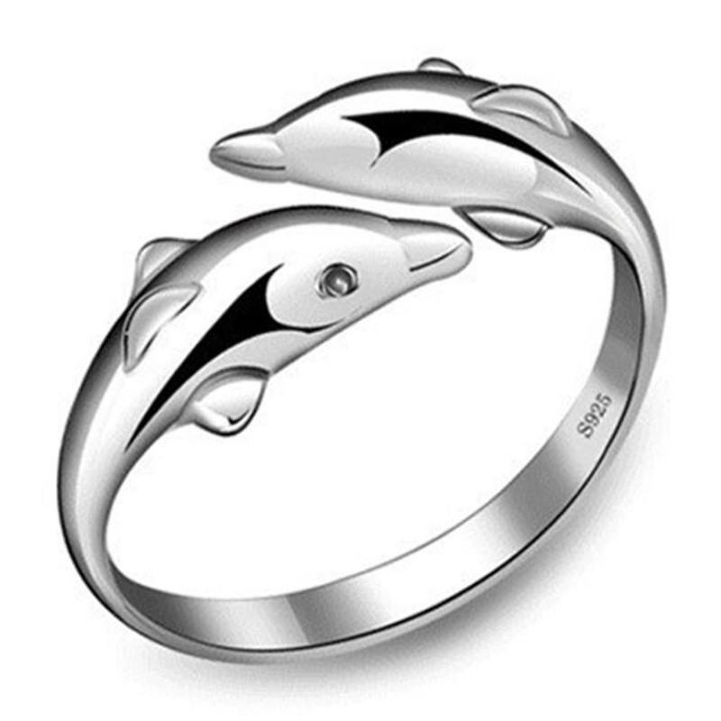 Fashion Dolphin Open Index Finger Ring Silver Color Women's Ring Accessories Creative Female Jewelry Gifts