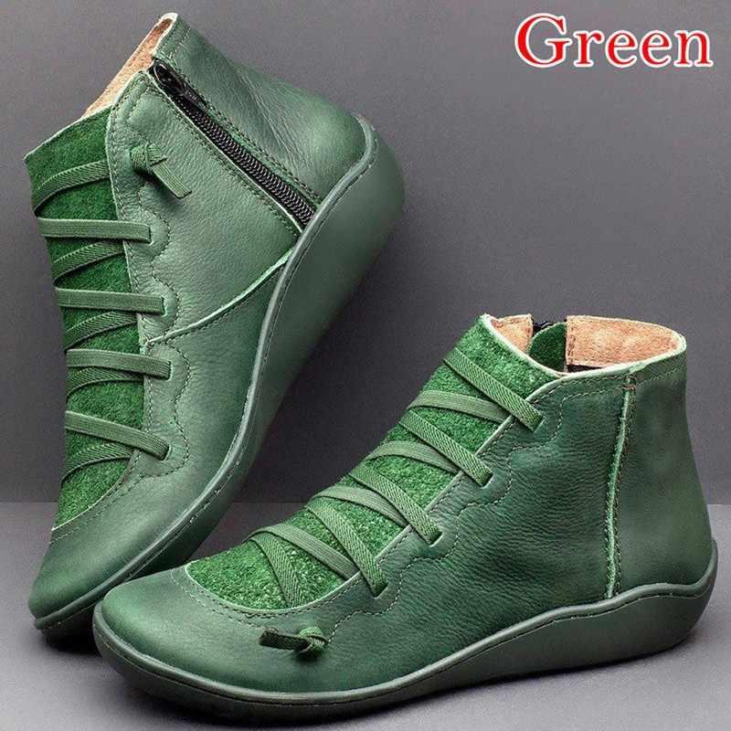 Botines de mujer de cuero PU Otoño Invierno tiras cruzadas Vintage mujeres Punk botas Zapatos señoras planas mujeres botas Mujer