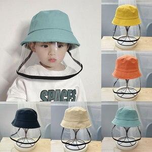 Image 4 - Детская Защитная Рыбацкая шляпа с защитой от брызг, Пыленепроницаемая несъемная маска, Детская однотонная шапка для отдыха на открытом воздухе, путешествий