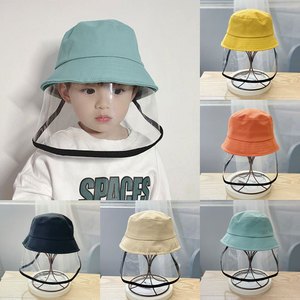 Image 4 - Children Protective Fisherman Hat Anti Saliva Splash Dustproof Non Detachable Mask Kids Solid Cap For Outdoor Travel Holiday Hat