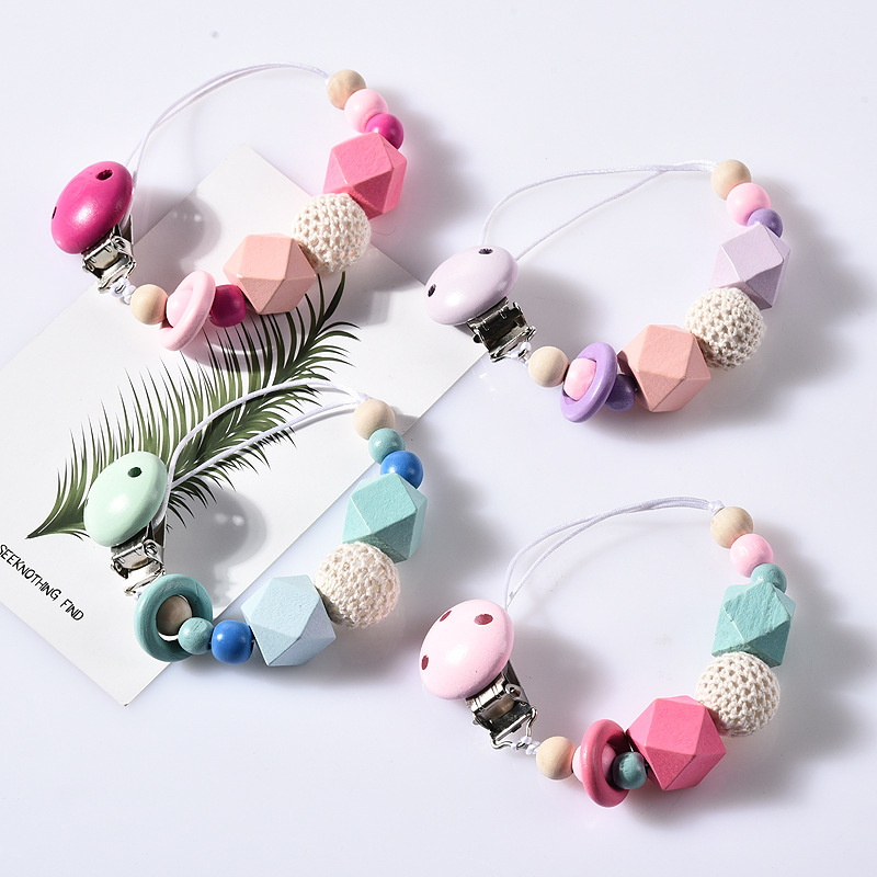Handmade Silicone Pacifier Chains Safe Teething Chain Baby Teether Eco-friendly Pacifier Clips Holder Chain