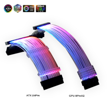 PSU Extension Cable RGB, ATX 24Pin GPU 8Pin Streamer PCI E 6+2P Dual Rainbow Cord 5V/12V MB Sync, PC Case Decoration