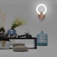 Surowe drewno Post nowoczesna lampa sufitowa led sypialnia aleja nocna tło kinkiet oryginalność osobowość salon zwięzły w Lampy ścienne od Lampy i oświetlenie na