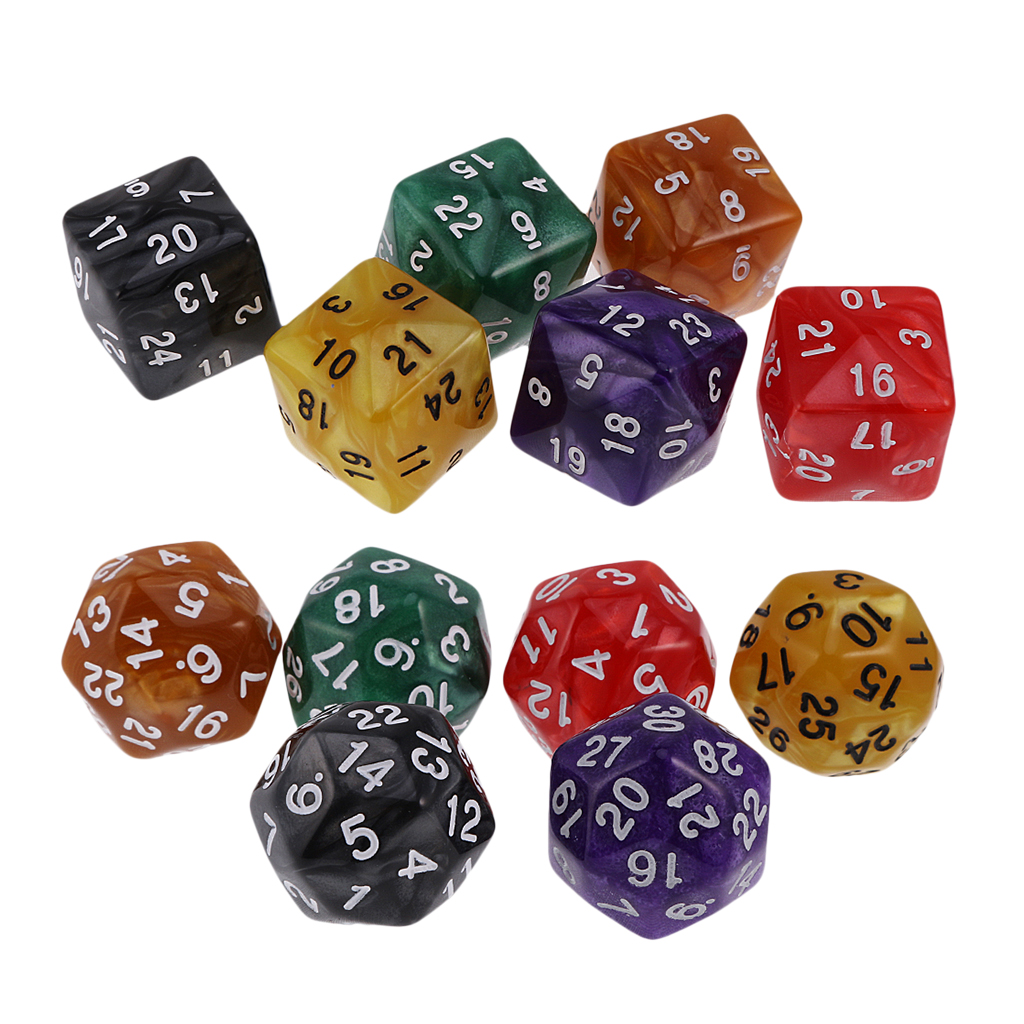 12Pc D30 D24 Polyhedral Dice Acrylic for Dungeons and Dragons Party Board Game Toy