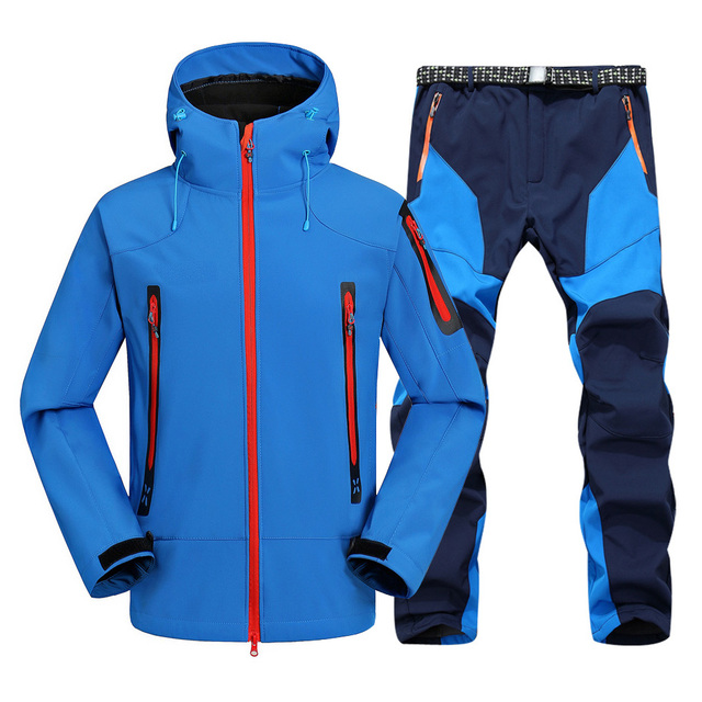 2pc Mens Waterproof Hiking suits Softshell Fleece Jackets and Pants Outdoor Trekking Camp Coat Set Pants Climb Skiing Trousers