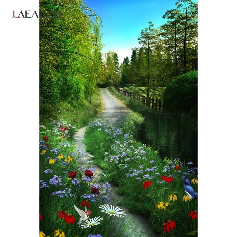 5X7FT-Spring Flower Forest Tree Photography Backdrop Children Dream Photo Studio Background
