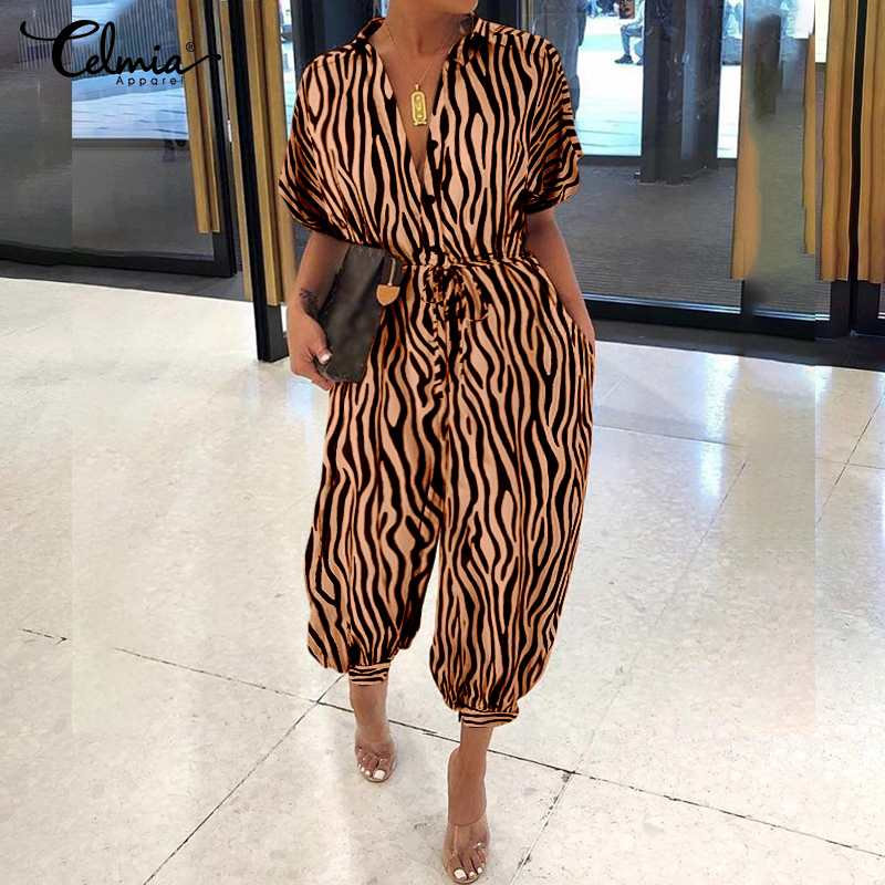 Celmia Women's Jumpsuits Short Sleeve Vintage Cargo Pants 2020 Summer Zebra Print Casual Loose Rompers Belted Dungarees Bottoms