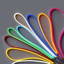Неоновая Светодиодная лента, гибкая, неоновая, 12 В постоянного тока, IP67, водонепроницаемая, фотолампа оранжевого, белого, красного, зеленого цветов