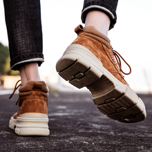 Skórzane buty męskie wyprzedaż obuwie codzienne trampki męskie 2020 czarne modne buty na gorące męskie płaskie sportowe męskie męskie buty nowe tanie tanio Kalorzze Desert Boots Prawdziwej skóry ANKLE Stałe Dla dorosłych Okrągły nosek RUBBER Wiosna jesień Niska (1 cm-3 cm)