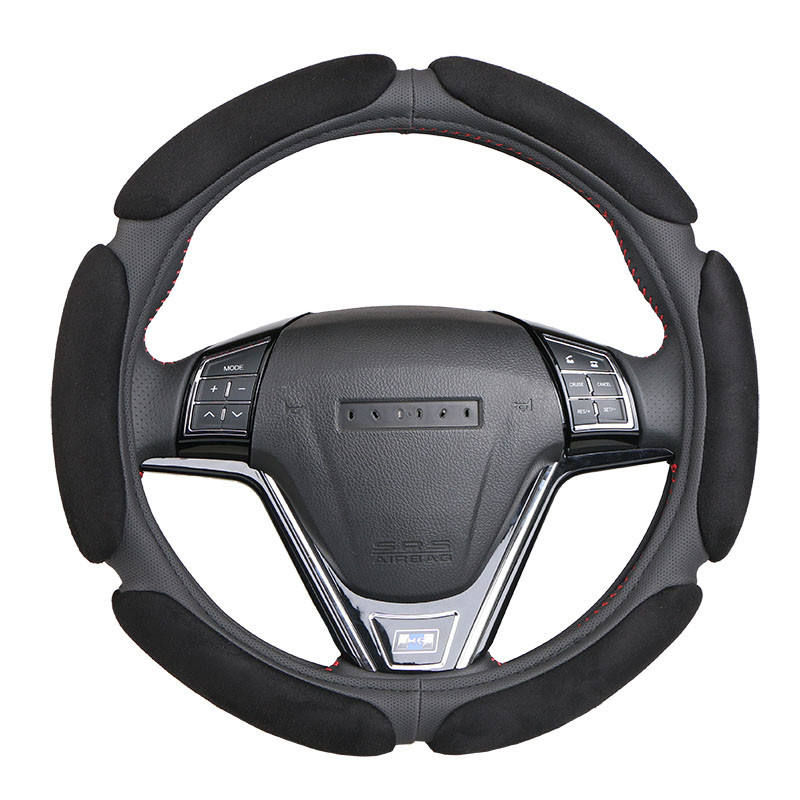 Non-slip Steering-Wheel Cover with 3D Design/Flocking clothcar steering wheel braid diameter 38CM For 95% Car title=