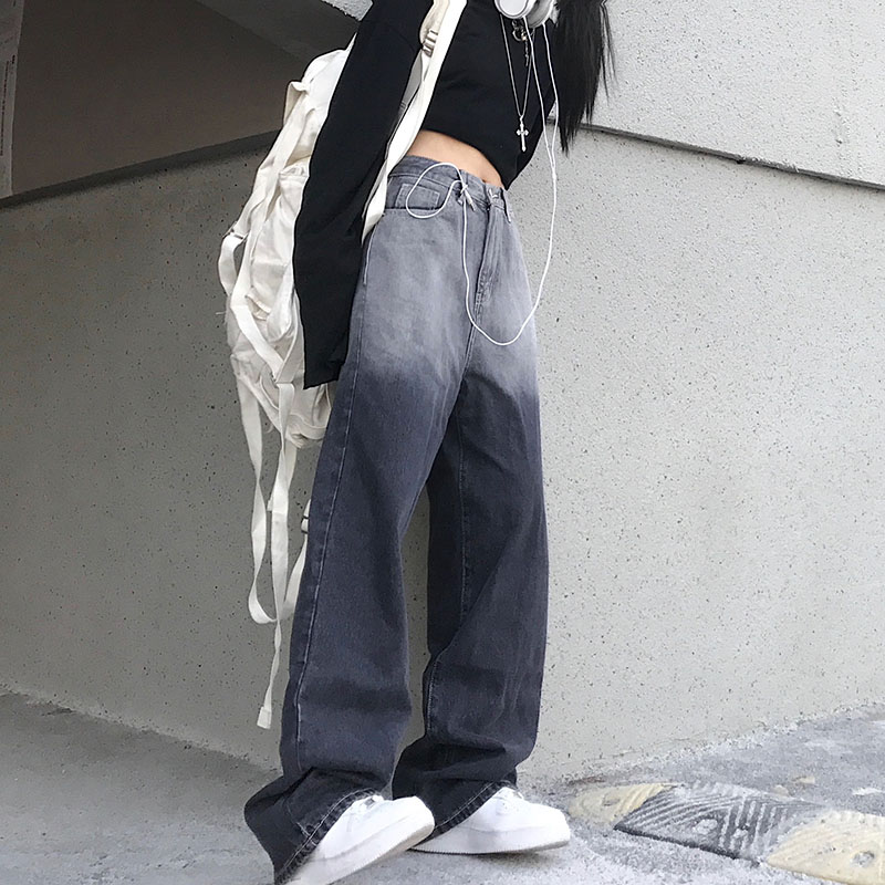 Woman Jeans High Waist Clothes Wide Leg Denim Clothing Blue Streetwear Vintage Quality 2021 Fashion Harajuku Straight Pants
