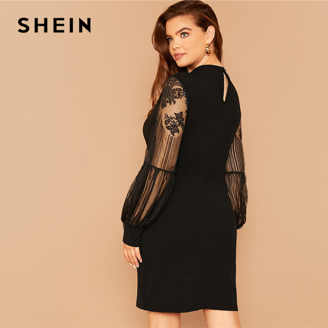 SHEIN Plus Size Black Mock-Neck Lace Lantern Sleeve Solid Dress Women Summer Autumn Plus Elegant Fitted Short Dresses 2