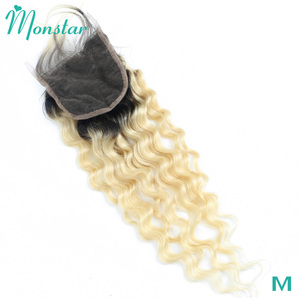 Monstar 1B 613 Blonde Ombre Deep Wave Closure 4x4 Lace Closure Remy Brazilian Human Hair 130% Density Closure Free Middle Part(China)