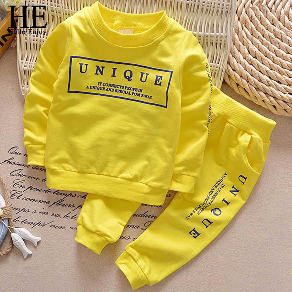 HE Hello Enjoy, conjunto de ropa para niños pequeños de primavera, informal, de manga larga, chándal de 2 piezas, ropa deportiva para niños