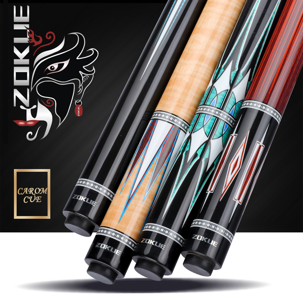 New Arrival ZOKUE-1/2/3/4 Billiard Carom Cue 12mm Tip High Quality Solid Maple Shaft Professional  3 Cushion Game Cue With Gifts