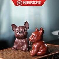 Yixing authentic all manual tea ceremony accessories purple sand tea table decoration cute dog Purple mud Dahongpao