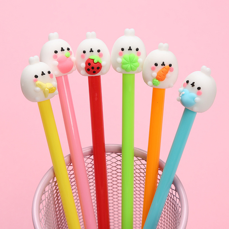 Cute Molang Rabbit Gel Pens Kawaii Fruit 0.5mm Black Ink Signature Pen Material Stationery Gift School Writing Supplies