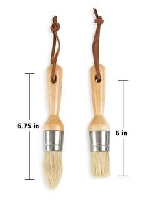 Image 5 - 2pcs Pro Chalked Bristles Wax Paint Brush Natural Pure Boar Bristle Brush for Furniture Painting Waxing Darpaint Detail Brushes