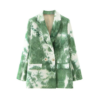 2020 Autumn Blazer Women Tie Dye Print Long Sleeve Notched Green Pink Single Breasted Jacket Pocket Office Business Suit Outwear women notched flare sleeve plaid print blazer short casual basic work single button office business blazer outwear british style