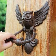 Manija para puerta de hierro caseta extraíble café Vintage tornillo duradero fijar Fácil instalación hogar resistente forma de búho decoración tirar