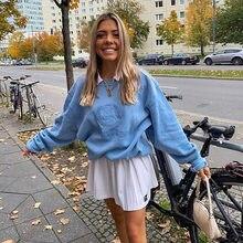 YICIYA – sweat-shirt à capuche pour femme, Streetwear, surdimensionné, Vintage Y2K, avec broderie, col ras du cou, bleu, 2021