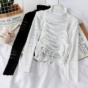 HELIAR Laced Up Long Sleeve Shirt Women Casual Sexy Transperant Blouse Tied Waist Tops Elegant Drastring Blouses For Women 2020