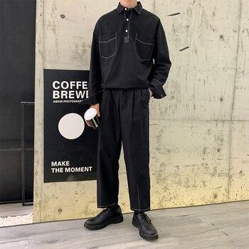 Male Long Sleeve Loose Casual Pullover Shirt Japan Streetwear Hip Hop Straight Harem Trousers Men 2 Piece Sets (shirt+pant)