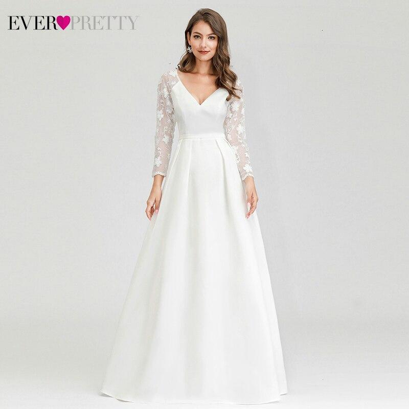Robe De Mariee jamais jolies robes De mariée a-ligne col en v à manches longues dentelle broderie robes De mariée élégantes pour mariée Gelinlik