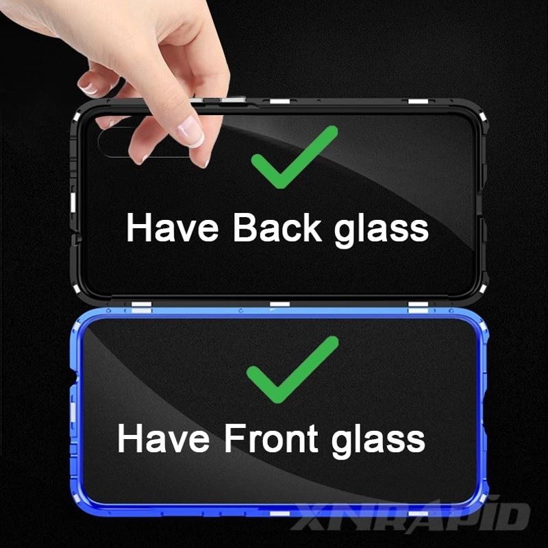 360 Full Protection Magnetic Case For Xiaomi Redmi Note 8 Pro 7 Metal Bumper Double Glass Cover For Mi Note 10 Mi 9 9T 8T funda 5