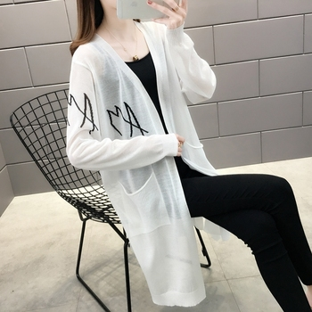 157024 room, row 1, No.1 Middle] take a real picture of the new mid long letter pocket sunscreen shirt 42 2
