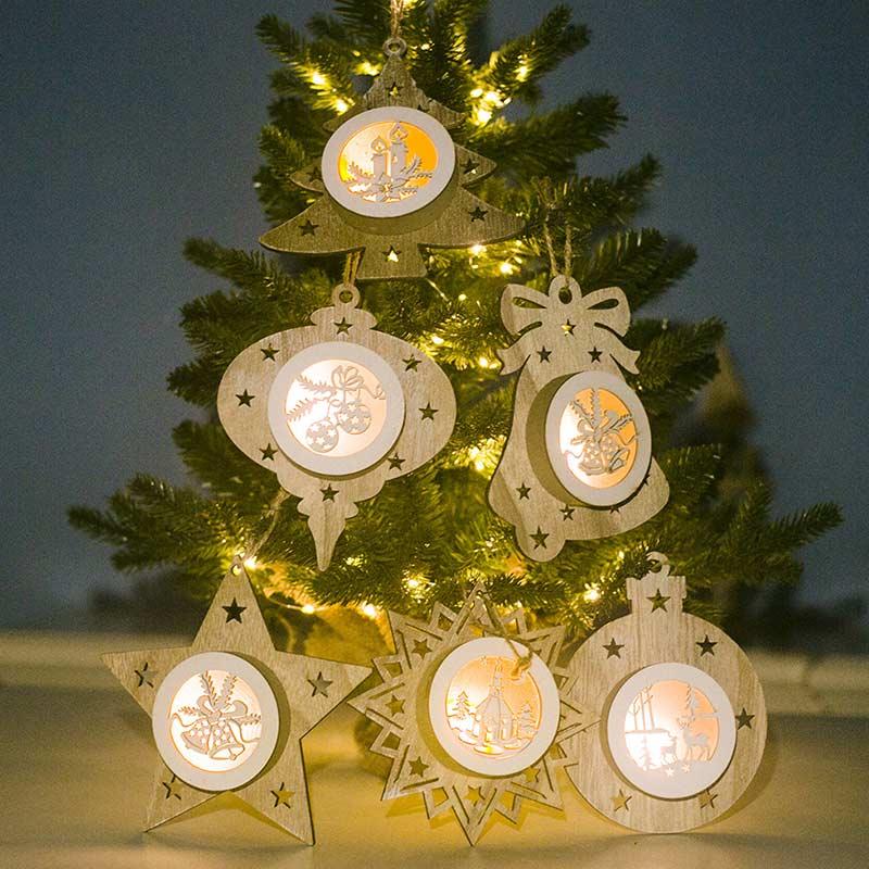 Светящиеся украшения для новогодней елки, деревянный полый светильник, рождественское подвесное украшение, рождественские праздничные ве...
