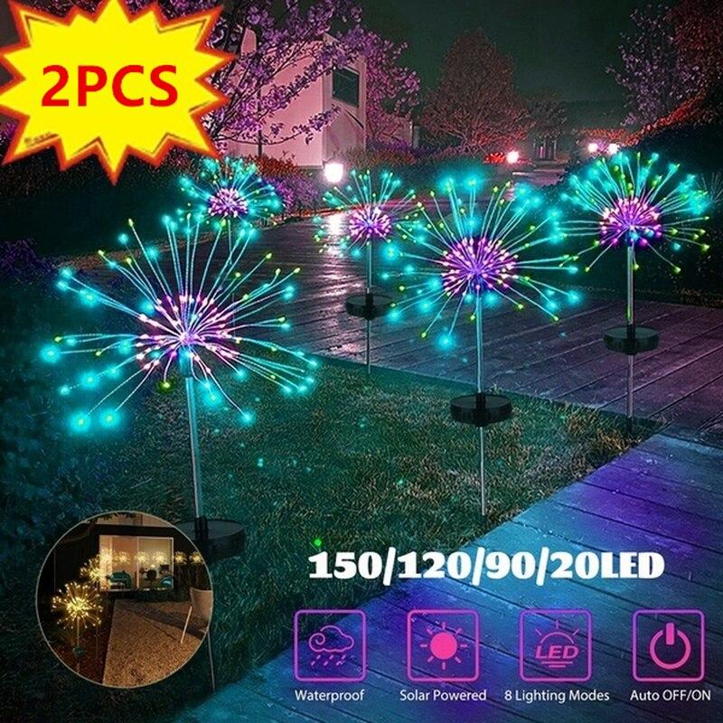 Luces LED solares de fuegos artificiales para exteriores, tira de luces LED impermeables de hadas para decoración navideña, jardín y hogar, 90/120/150 LEDs, 1/2 Uds.