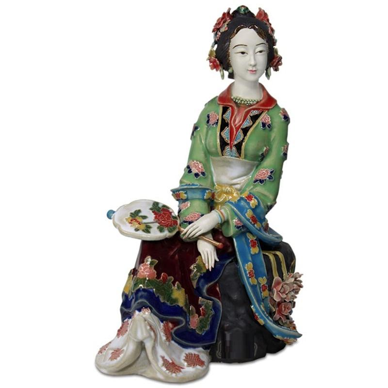 Chinese Antique Jinling Twelve Beautiful Women Figurines Vintage Porcelain Female Dolls Sculptures Home Decor Collectible R2399