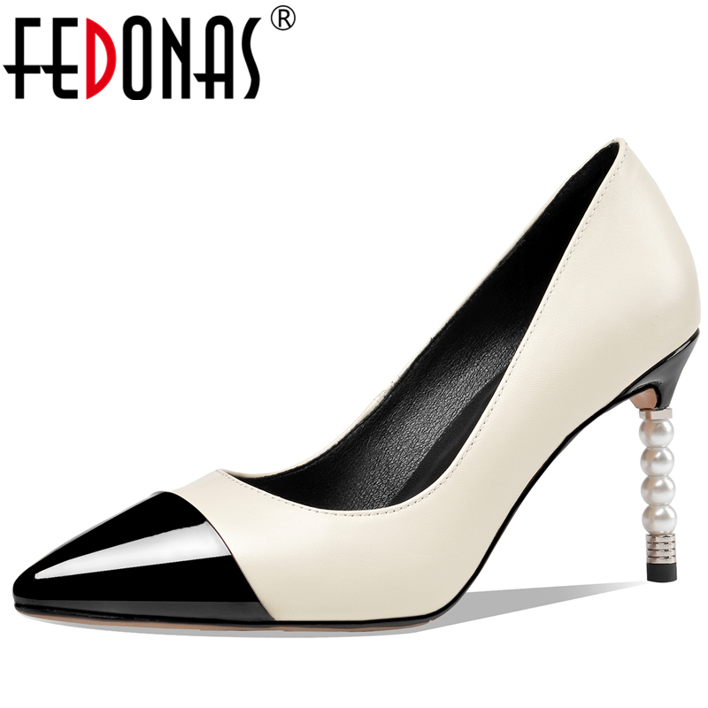 FEDONAS Spring Fashion Concise Elegant Women Cow Leather Pumps Wedding Party Metal Pointed Toe Pearl Heel Shallow Shoes Woman