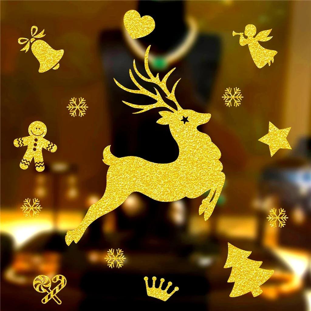 Christmas DIY Decoration Golden Christmas Wall Sticker Glass Wall Sticker