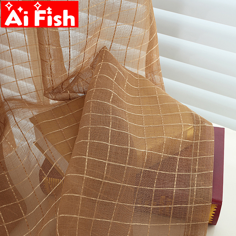 Coffee Plaid Mesh Kitchen Curtain Drapes Sheer Fabric Modern Minimalist Curtain For Living Room Window Tulle Bedroom Wp036#4