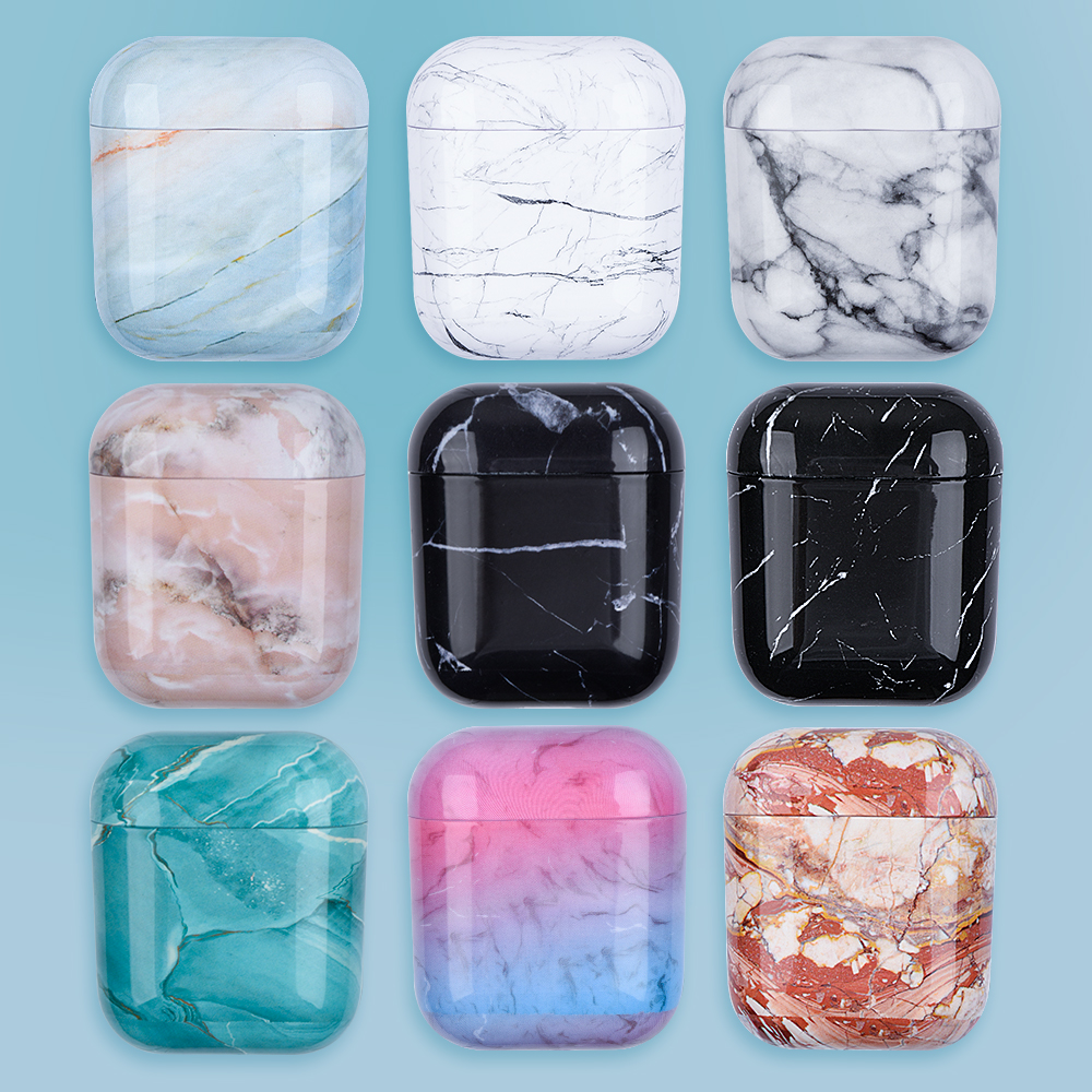 Marble Pattern Case For Apple AirPods 2 Earphone Hard PC Earphones Box Case For Apple AirPod 1 Fashion Couple Cover Coque Fundas
