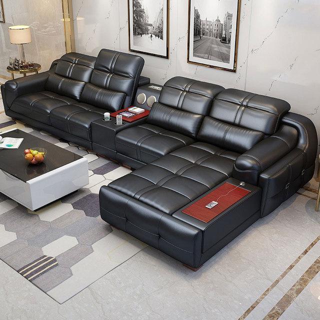 EZ-home Modern simple leather multi-functional sofa 4
