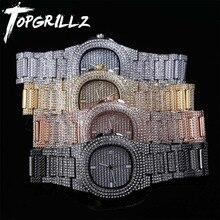 Topgrillz Merk Iced Out Diamond Watch Quartz Gouden Hip Hop Horloges Met Micropave Cz Rvs Horloge Klok Relogio