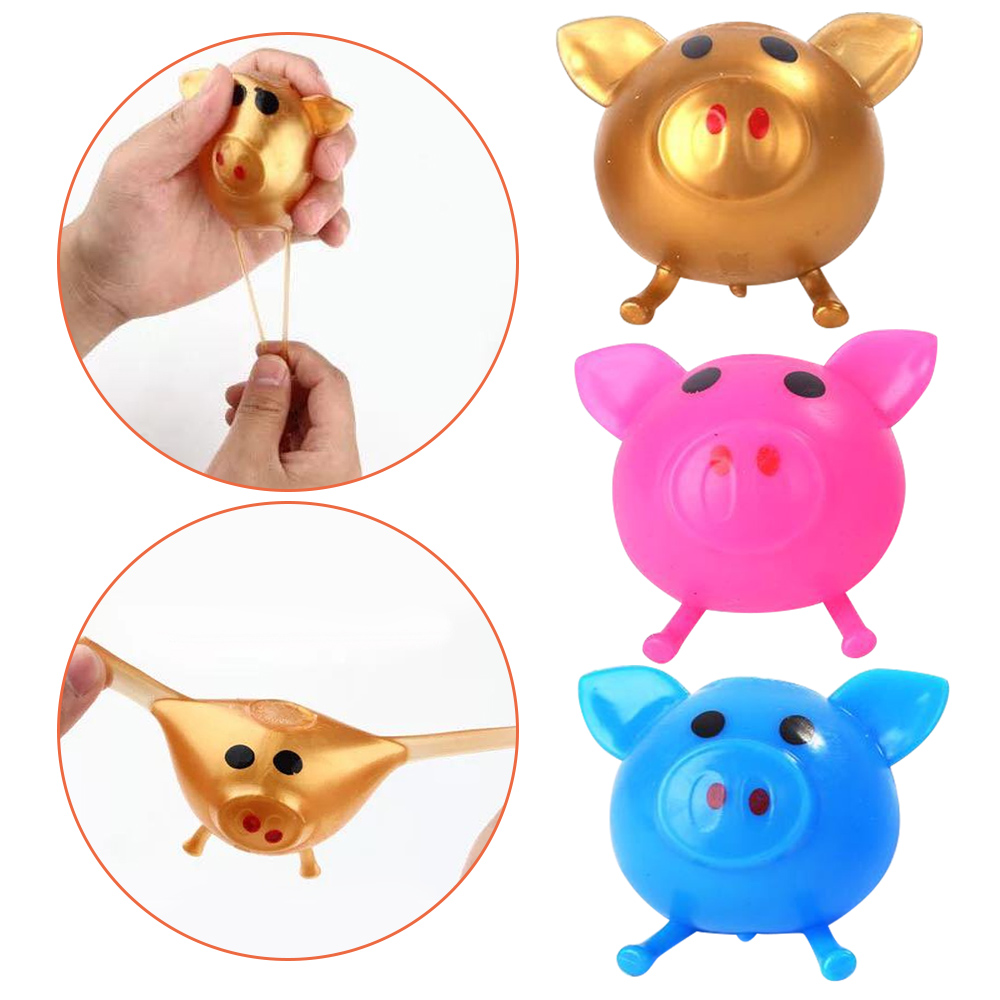 Besegad Funny Cute Pig Head Splat Ball Anti-Stress Decompression Venting Smash Water Ball Squeeze Toy For Children Adults