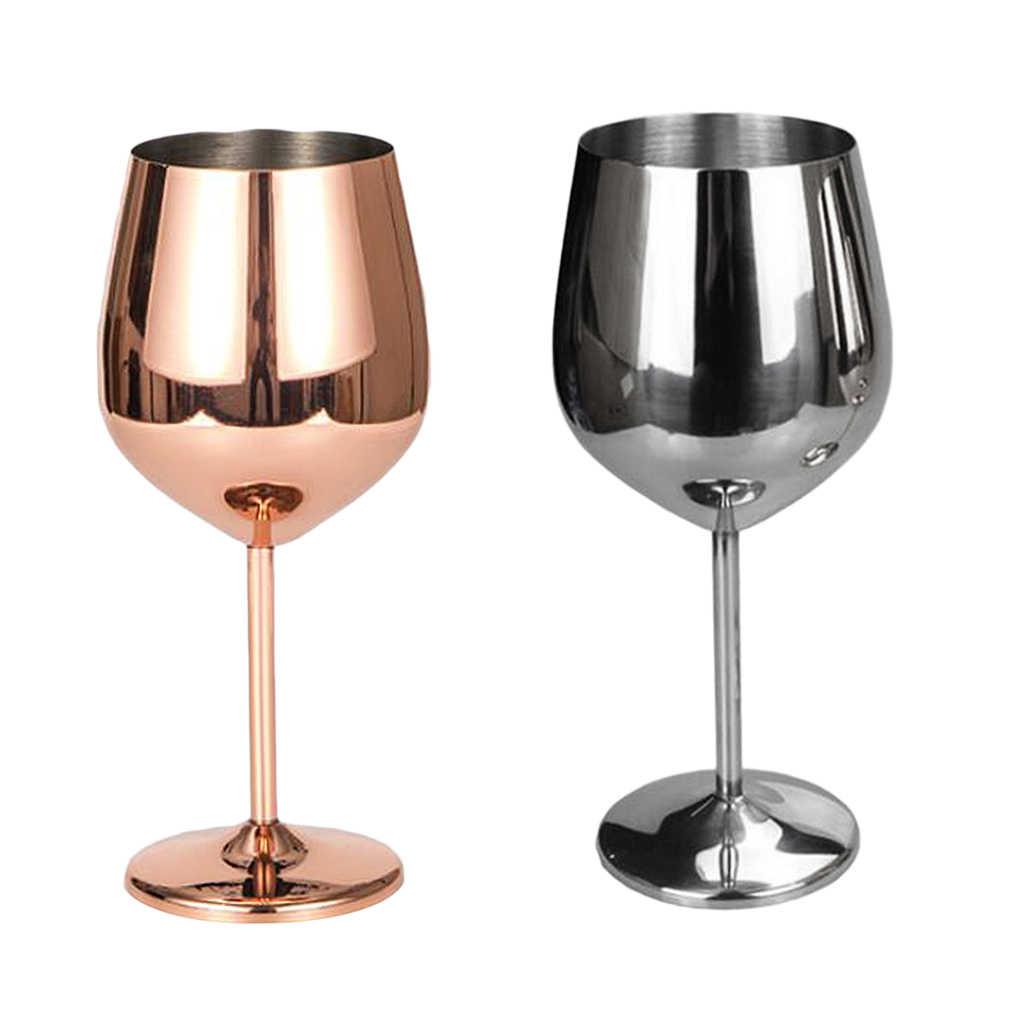 Edelstahl Wein Glas Becher Weiß oder Rot Wein Trinken Gläser Tasse Silber Rot Wein Becher Rose Gold