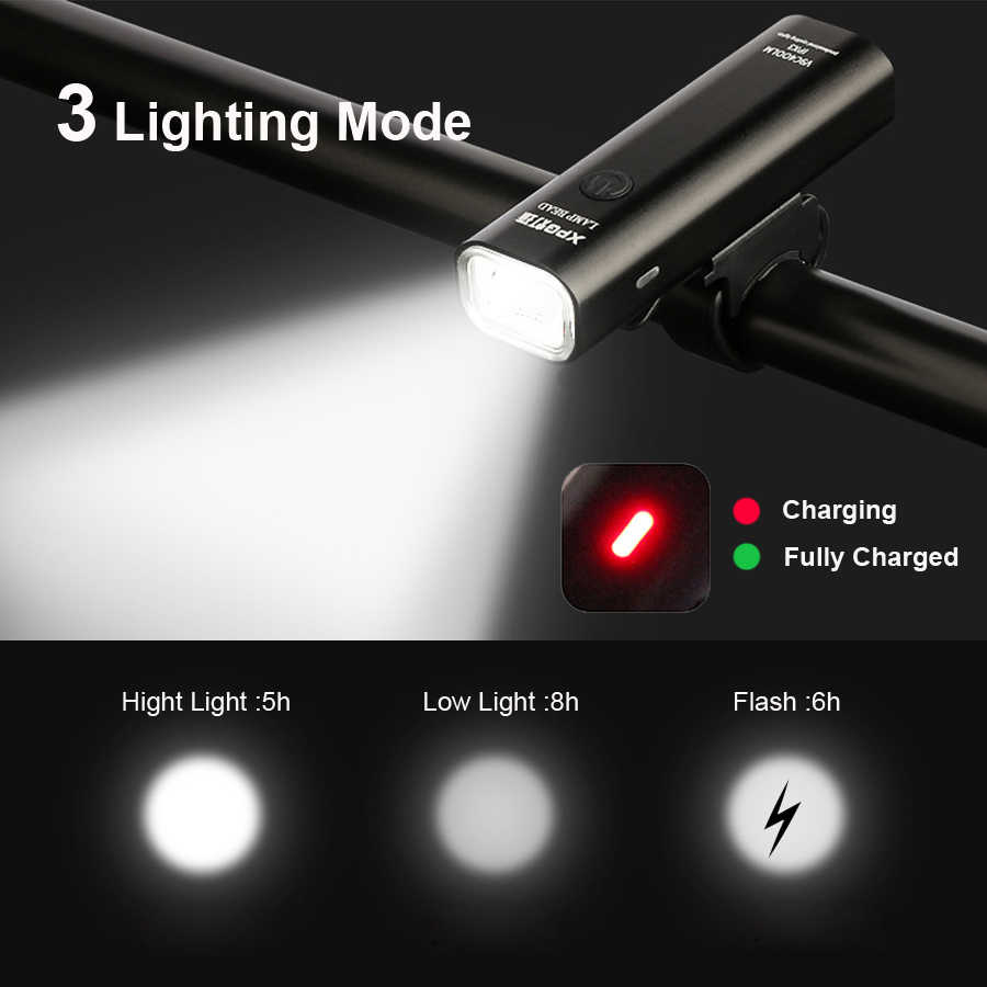 400LM Bike Front Light Anti-glare USB Rechargeable MTB Bicycle 3 Mode Led Flash