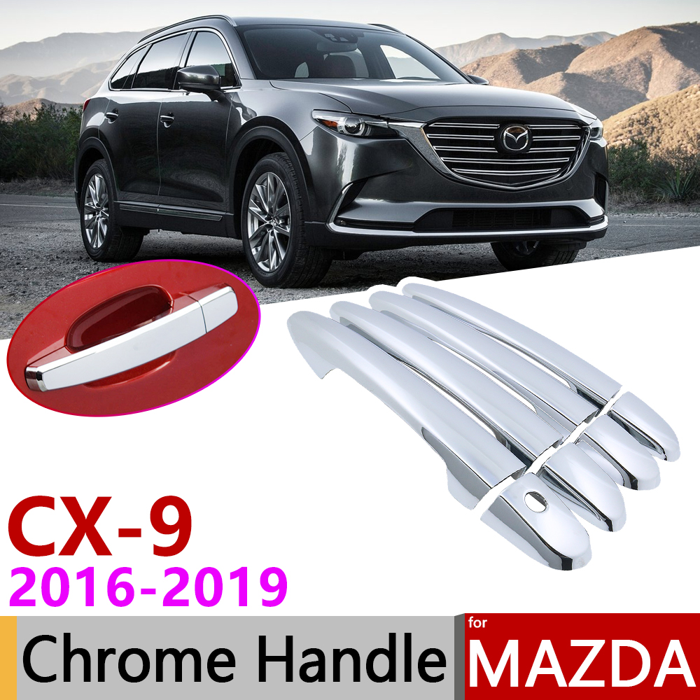 for Mazda <font><b>CX</b></font>-9 CX9 <font><b>CX</b></font> 9 TC MK2 2016~2019 Chrome Exterior Door Handle Cover Car Accessories Stickers Trim Set of 4Door 2017 <font><b>2018</b></font> image