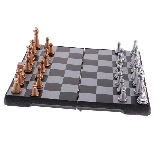 Jeu d'échecs de voyage portatif bronze argent 4