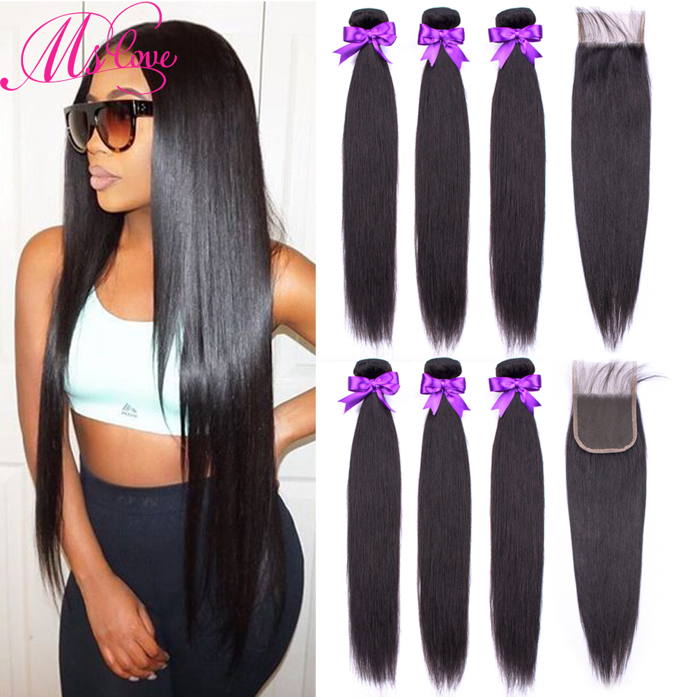 Human-Hair-Bundles Closure Weave Brazilian-Hair Straight with 3